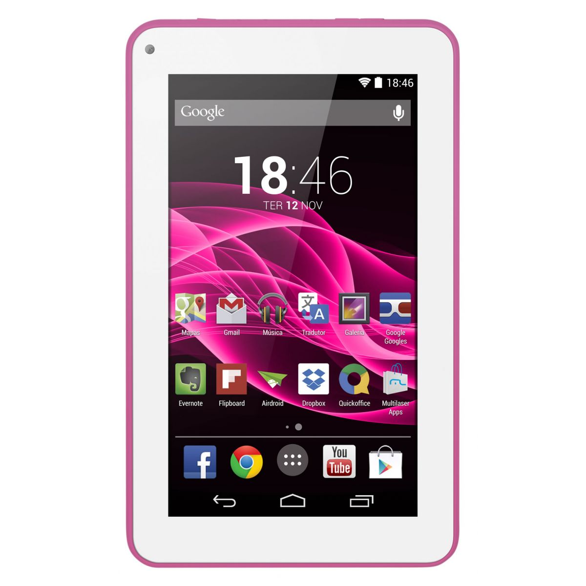 Tablet M7S Quad Core Android 4.4 Wi-Fi 7 8GB Rosa NB186 Multilaser