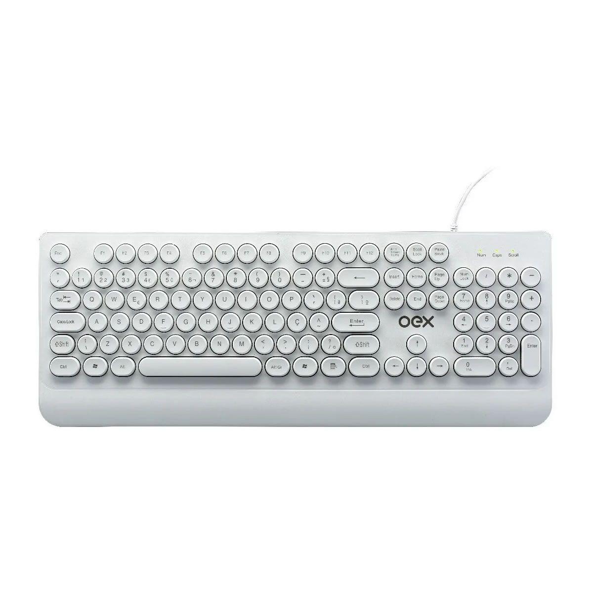 Teclado Branco USB OEX POP IN Teclas Redondas ABNT Para Escritório