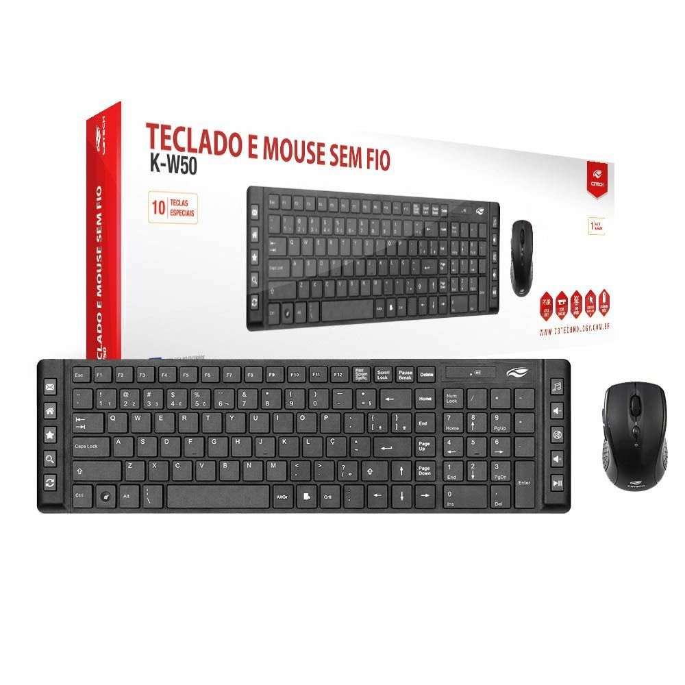 Teclado e Mouse Sem Fio Preto C3Tech K-W50