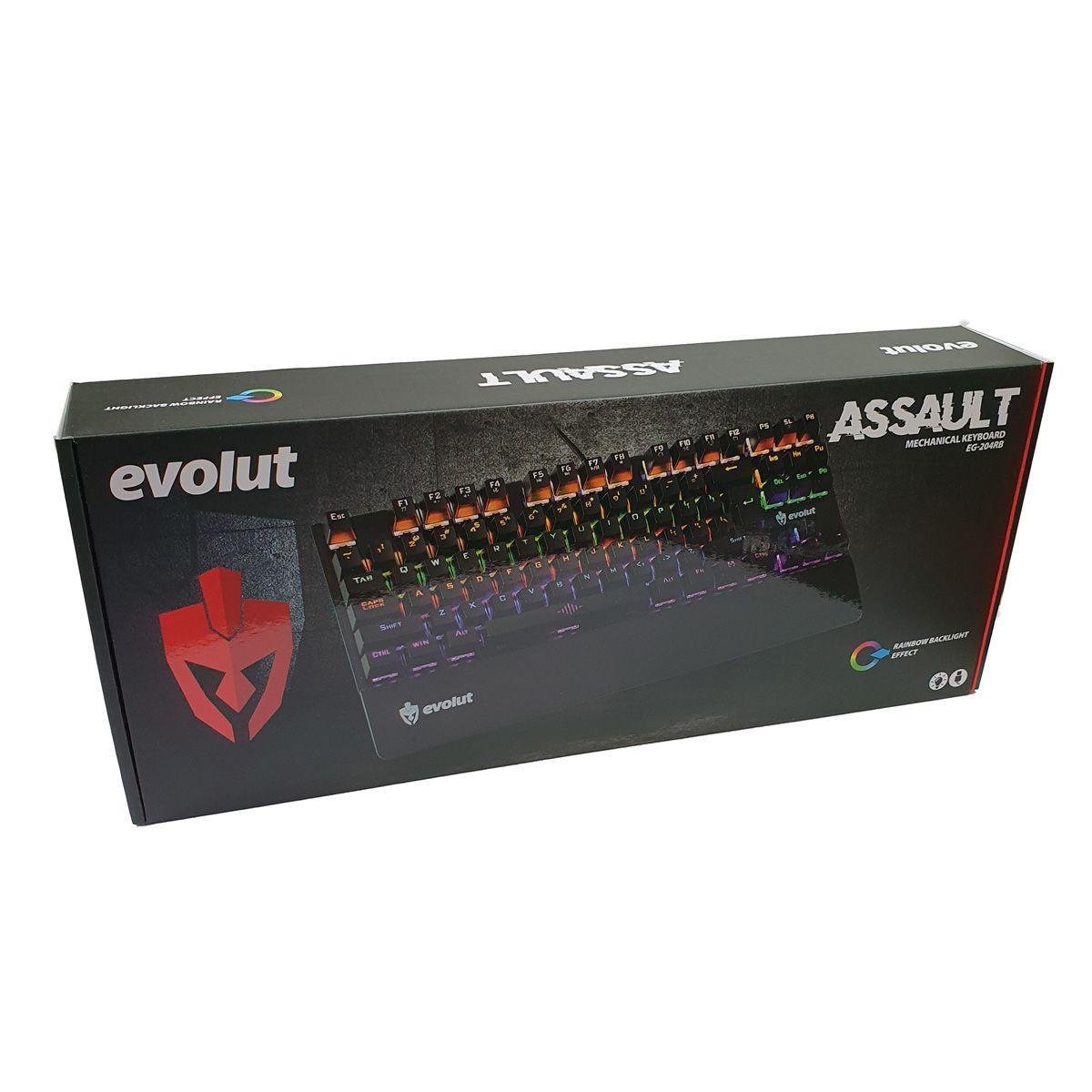 Teclado Mecânico Gamer ASSAULT com LED Switch Blue EG-204RG Evolut