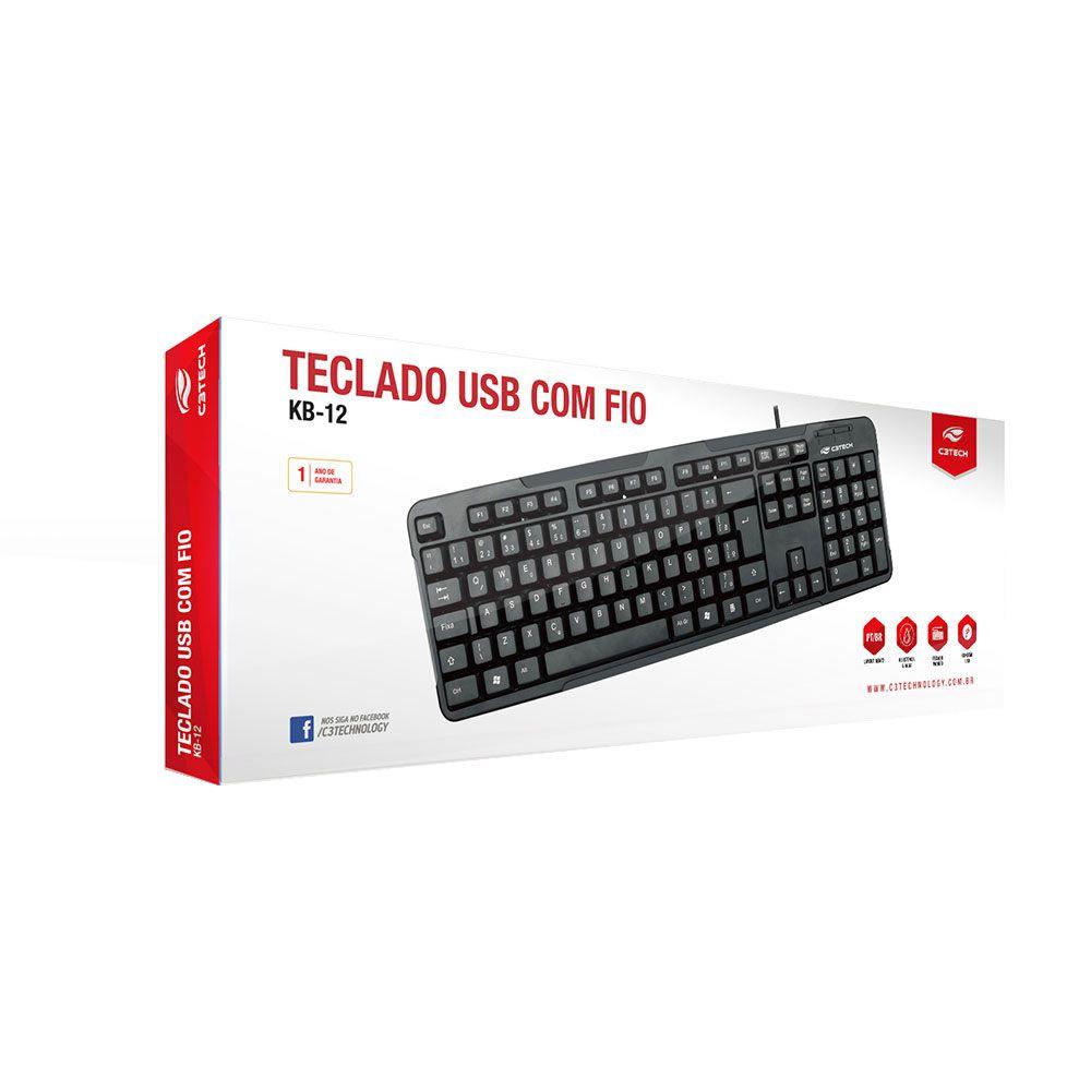 Teclado USB ABNT2 Keyboard C3 Tech KB-12BK