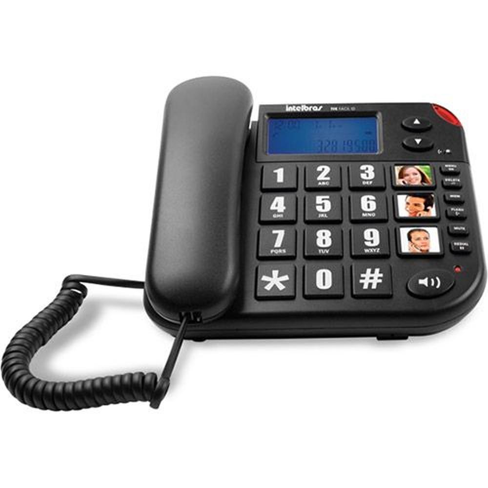 Telefone Tok Fácil ID com Identificador Teclas Grandes Preto Intelbras