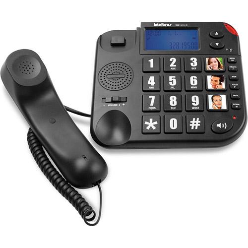 Telefone com Fio Tok Facil Fácil ID com bina Identificador de Chamadas Teclas Grandes Preto Intelbras  - RECALL INFORMATICA