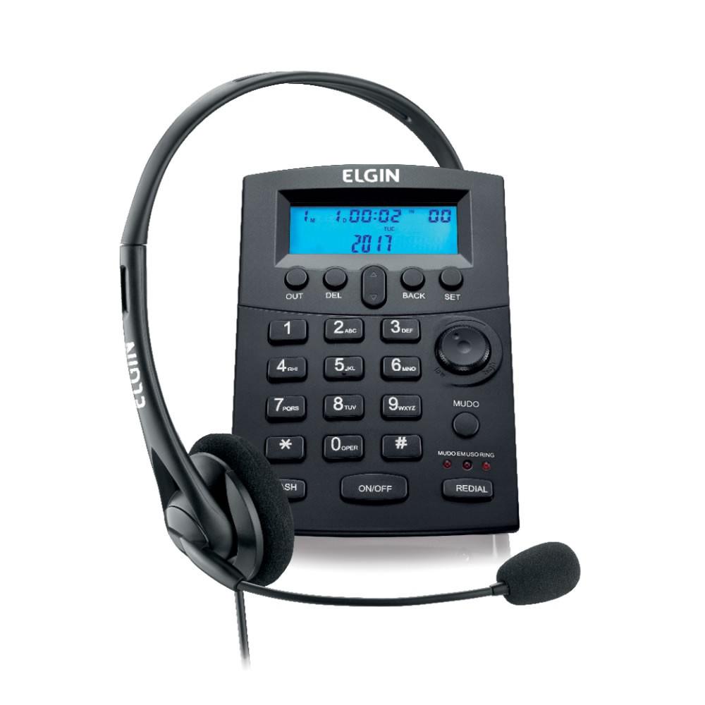 Telefone com Headset Elgin HST-8000 com Identificador de Chamadas e Base Antiderrapante