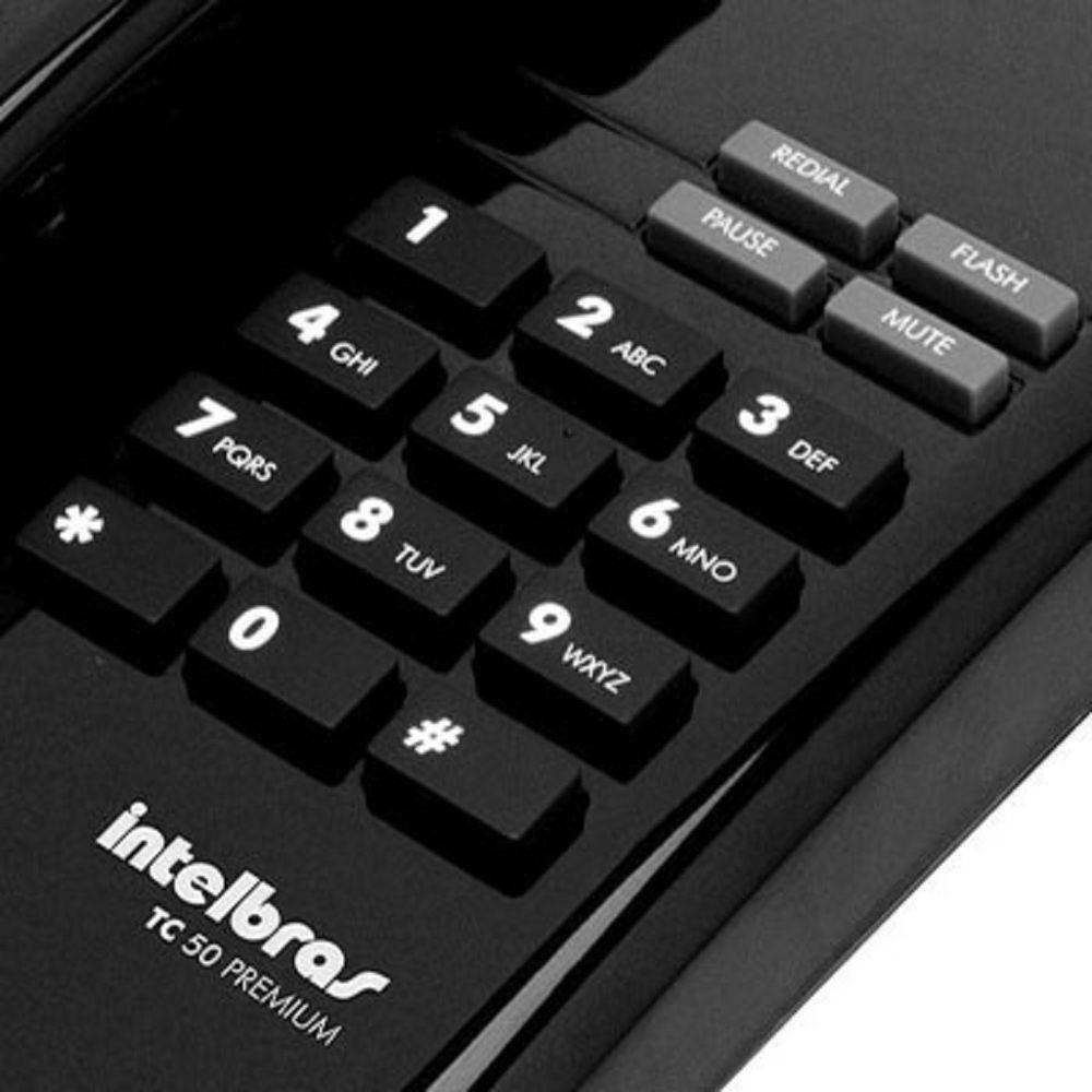Telefone de Mesa com Fio Preto TC50 Premium Intelbras