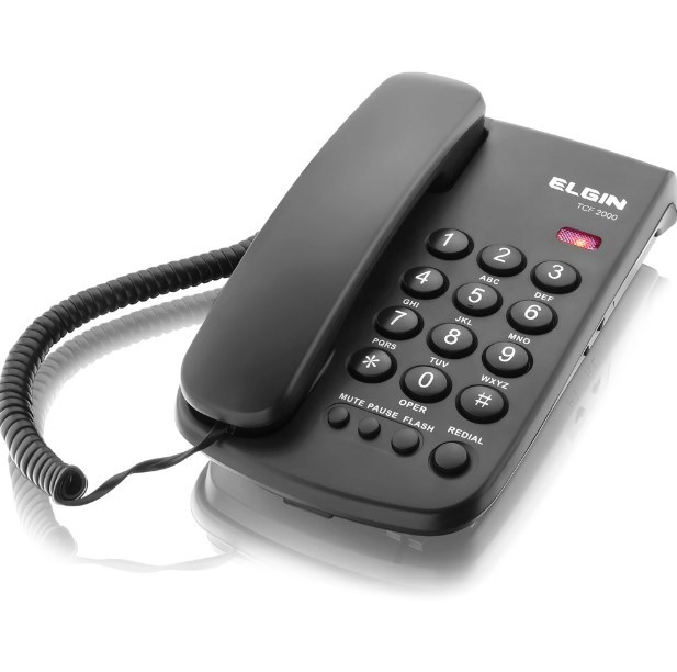Telefone de Mesa com Fio Preto TCF2000 Elgin