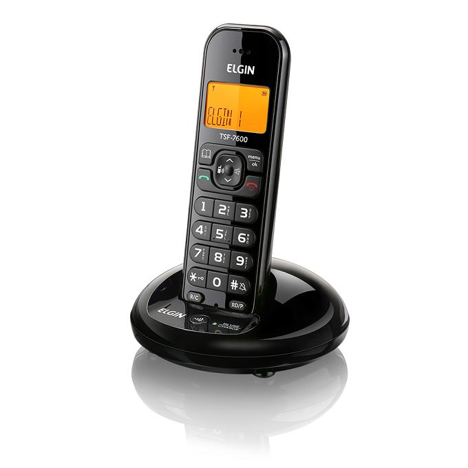 Telefone sem Fio Preto Elgin TSF-7600 com Identificador de Chamada
