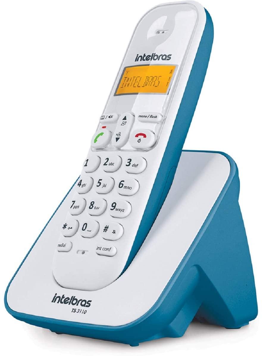 Telefone sem Fio  com Identificador de Chamadas  Azul com branco TS 3110 Intelbras