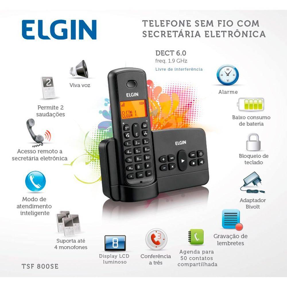 Telefone Sem Fio Com Secretaria Eletrônica Elgin TSF800SE
