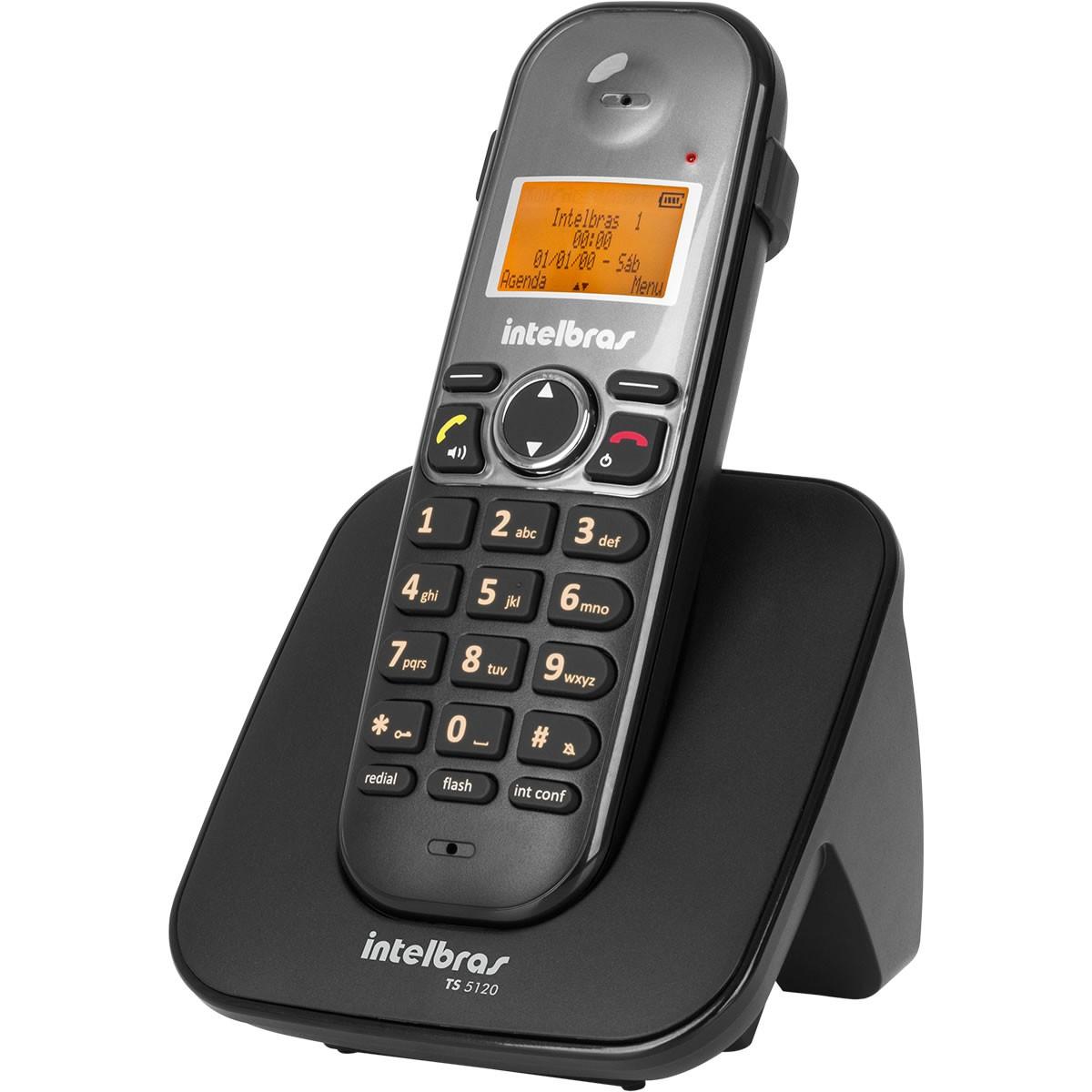 Telefone Sem Fio com Viva Voz Identificador Intelbras TS 5120 Preto DECT 6