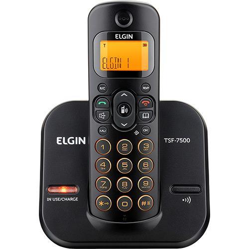 Telefone sem Fio Preto com Laranja Identificador de Chamada Bivolt Elgin TSF 7500 ID