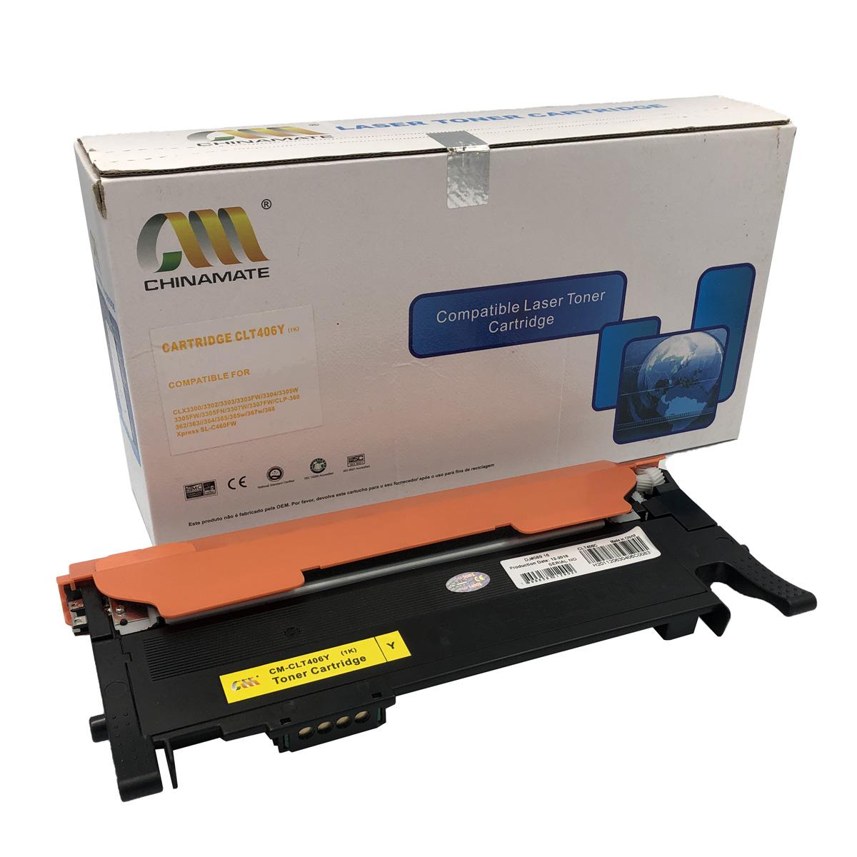 Toner Chinamate CLT406 Amarelo Compatível com C460FW CLX3305W da Samsung