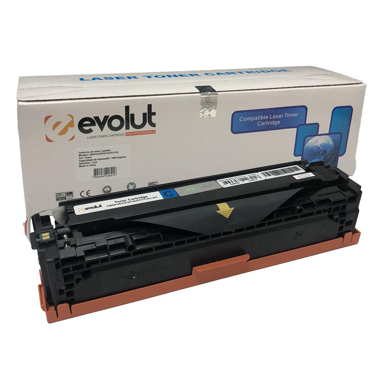 Toner Evolut CB541A CE321A CF211A Ciano Compatível com CM1312 CP1217 da HP