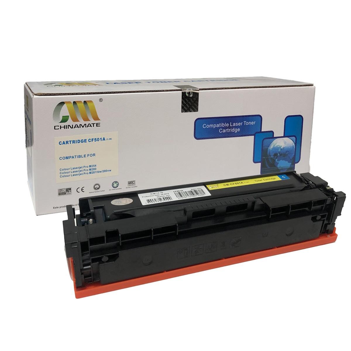 Toner Chinamate CF501A Ciano Compatível com M284FDW M254DW da HP