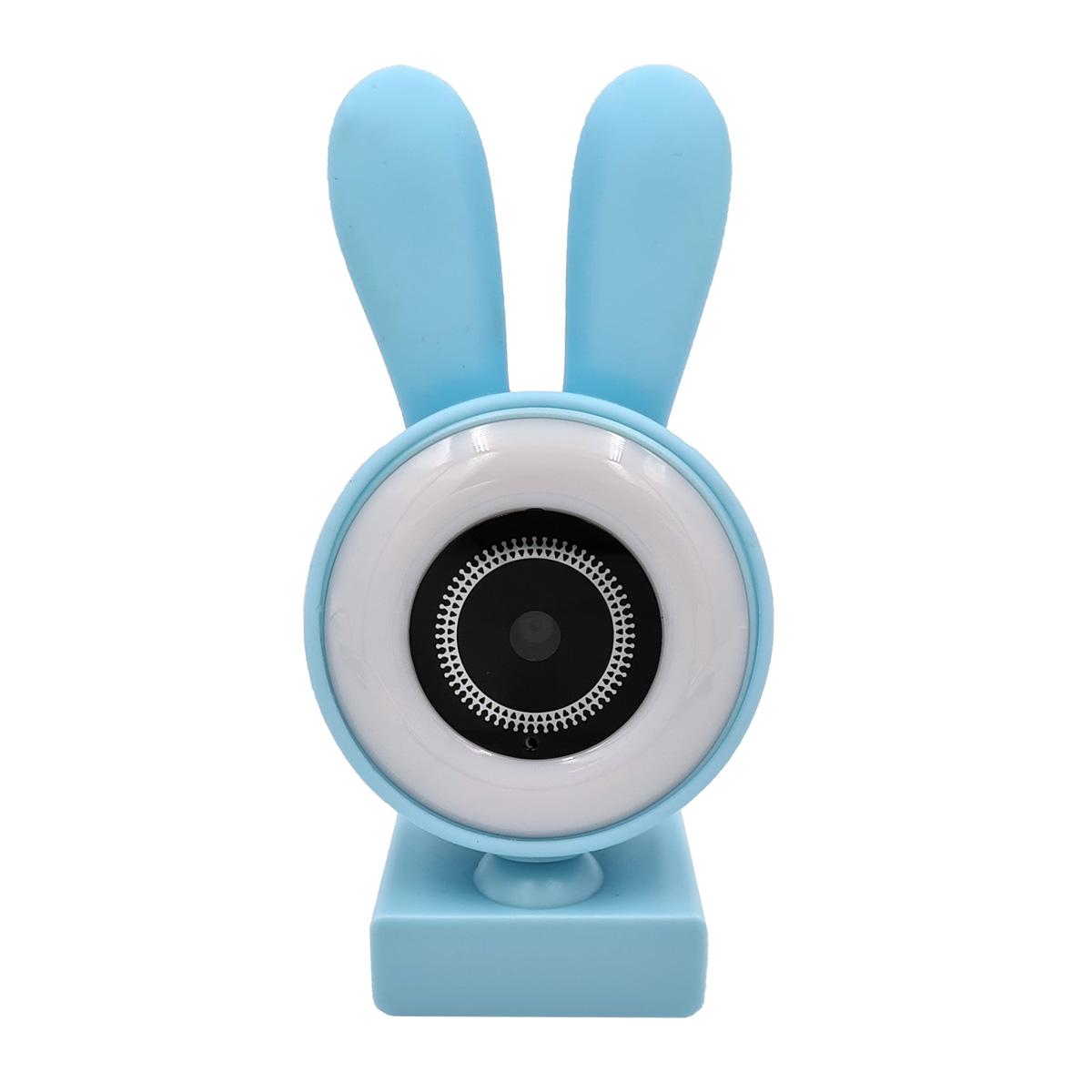 Webcam com Microfone Orelinhas LED 480p 720p 1080p Azul CA-13065