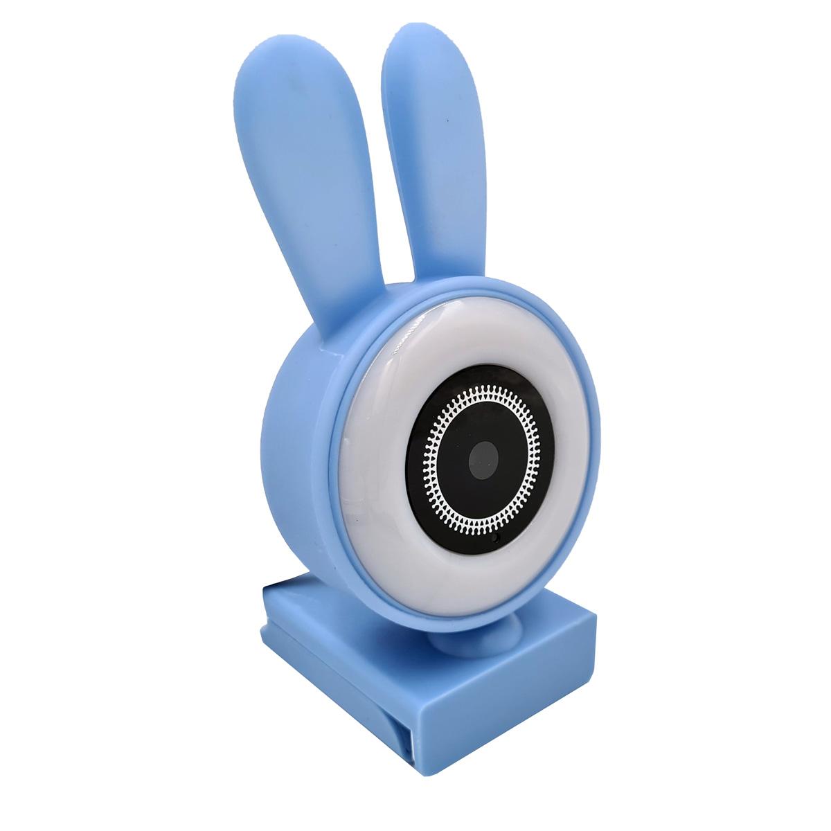 Webcam com Microfone coelhinho LED HD 720p Azul