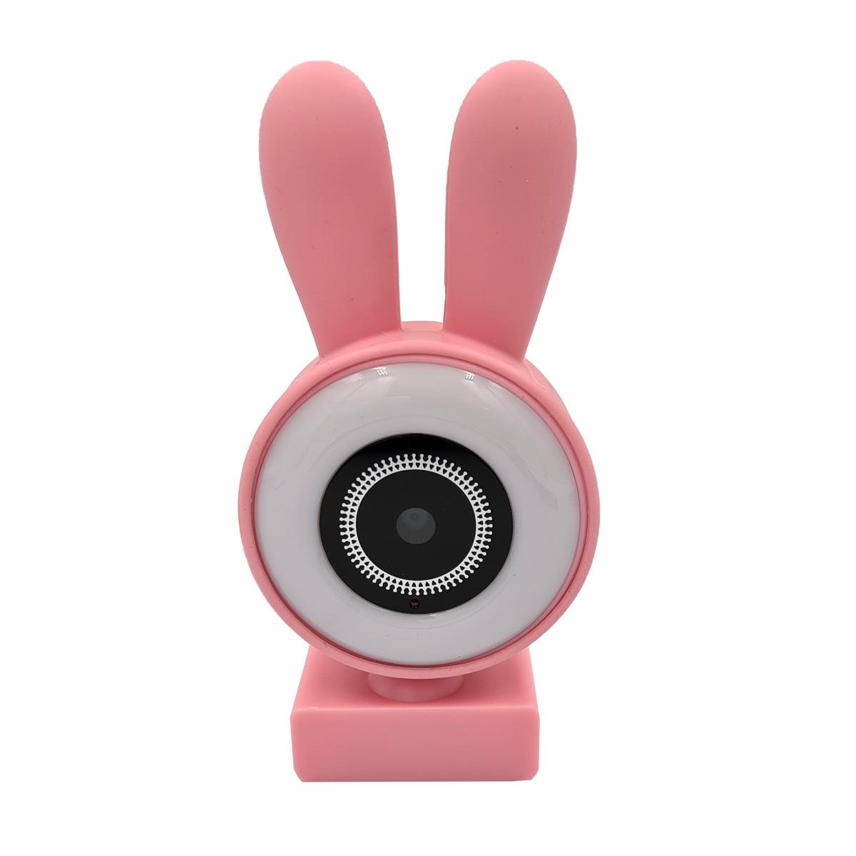 Webcam com Microfone Orelinhas LED 480p 720p 1080p Rosa CA-13065