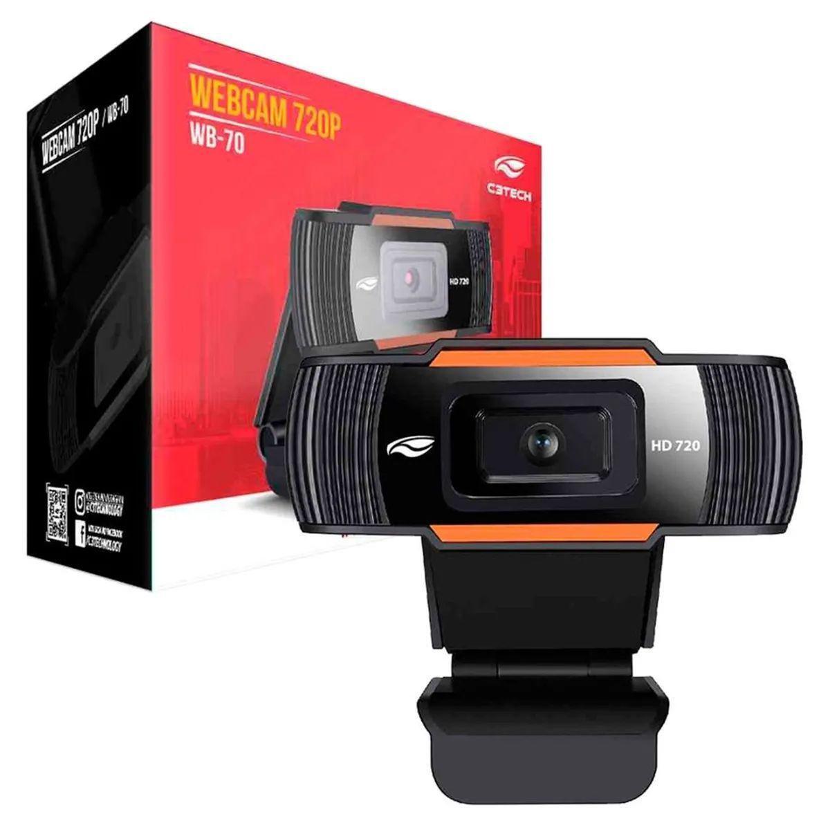 Webcam HD 720p com Microfone para Vídeo Conferência WB-70 C3Tech