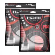 Kit 2 Cabo Hdmi 2.0 4k Hdr 3d 19 Pino 2m Pix Chip Sce