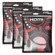 Kit 3 Cabo Hdmi 2.0 4k Hdr 3d 19 Pino 2m Pix Chip Sce