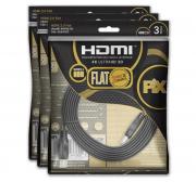 Kit 3 Cabo Hdmi Flat 2.0 Pix 19 Pinos 4k Ultrahd 3d Hdr 3 M