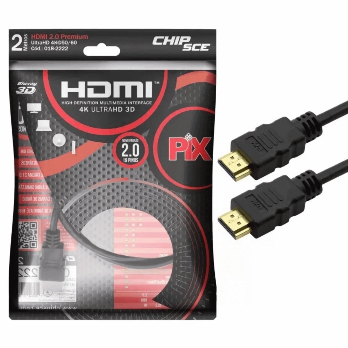 Cabo Hdmi 2.0 4k Hdr 3d 19 Pino 2m Pix Chip Sce 018-2222