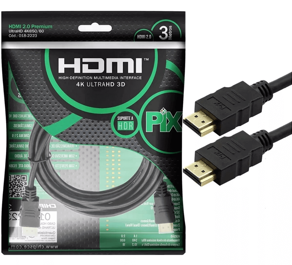 Cabo Hdmi 2.0 4k Hdr 3d 19 Pino 3m Pix Chip Sce 018-2223