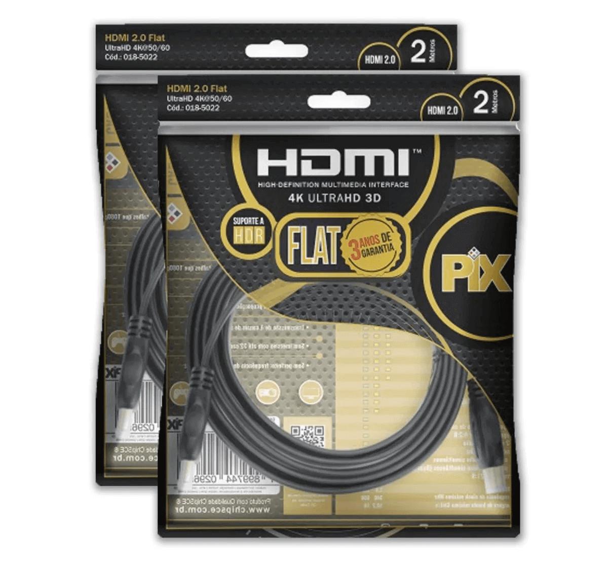 Kit 2 Cabo Hdmi Flat 2.0 Pix 19 Pinos 4k Ultrahd 3d Hdr 2 M