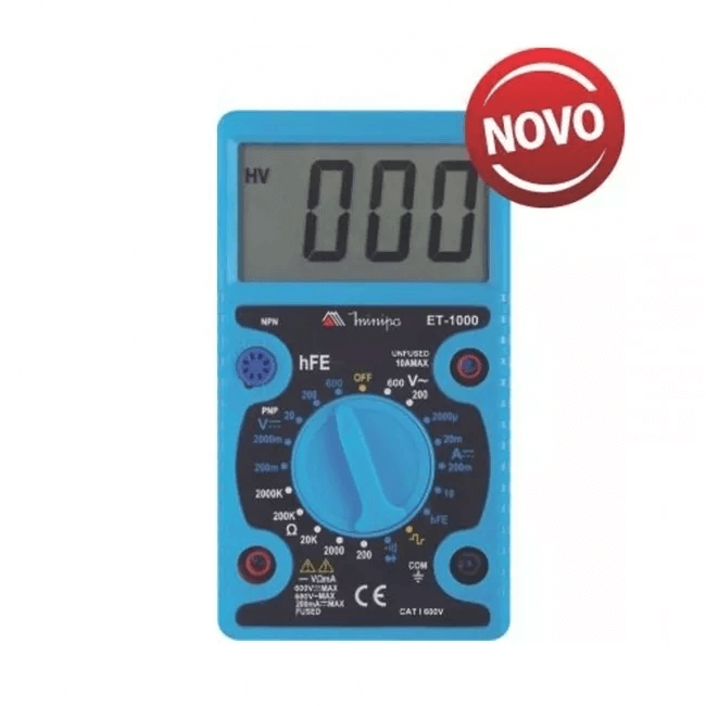 Multímetro Digital Profissional Portátil Et-1000 Novo Minipa