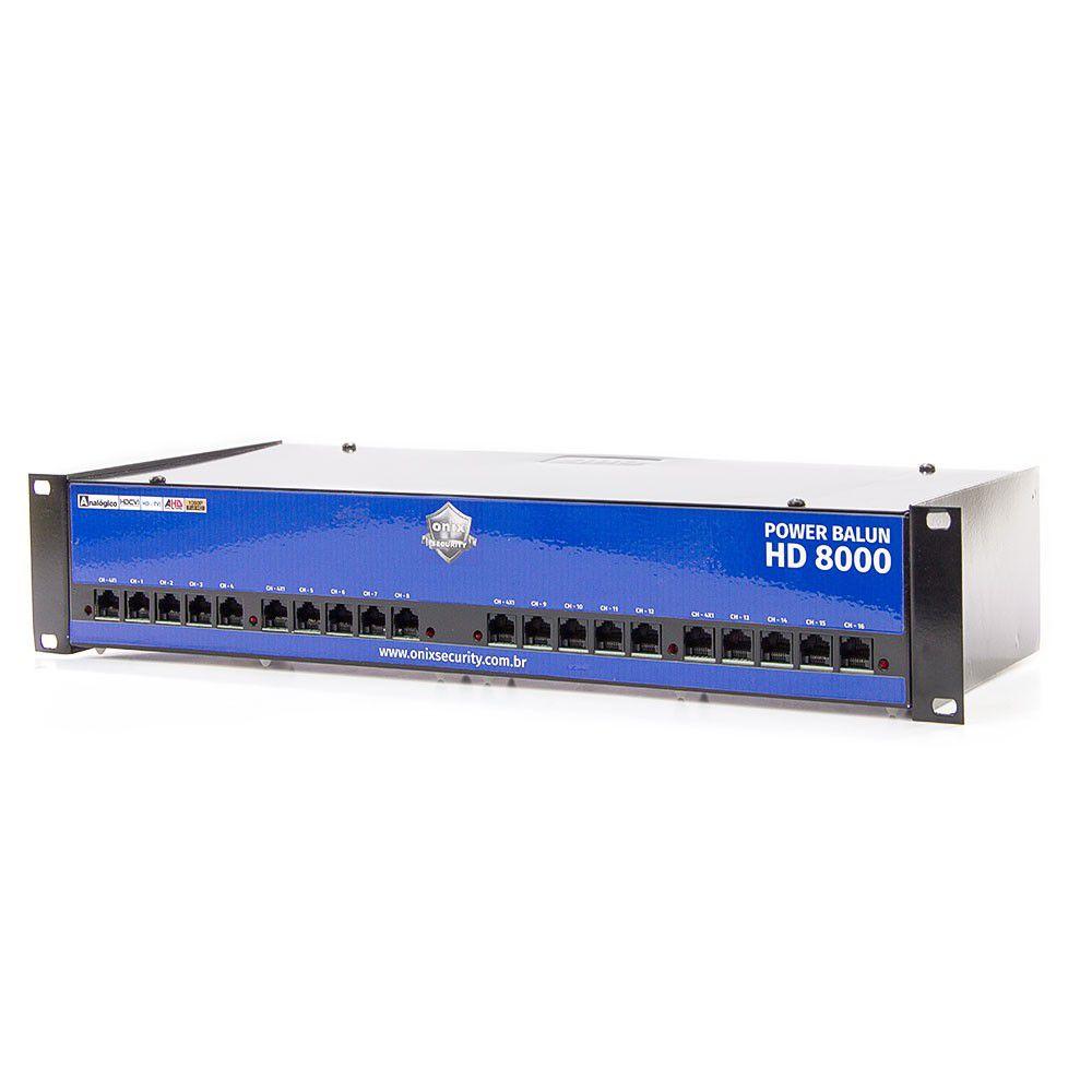 Power Balun Pvt 16 Canais Completo Rack Hd 8000 Onix
