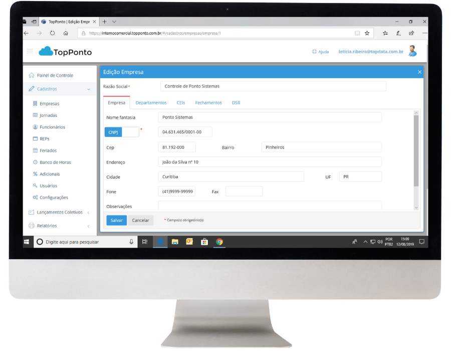 Sistema Gerenciamento Controle Ponto TopPonto Web Control ID