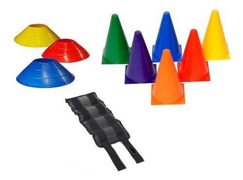 Kit 10 Cones 20 Cm + 10 Chapeu Funcional + Par Caneleira 3kg