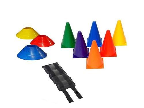 Kit 10 Cones 20 Cm + 10 Chapeu Funcional + Par Caneleira 6kg