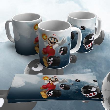 Caneca Porcelana Personalizada  Mario World-325ml