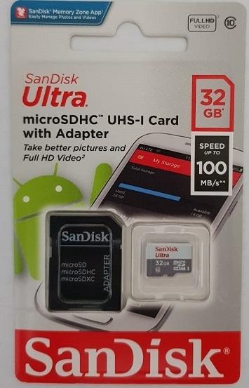 Cartão Memória Sandisk Ultra 32gb 100mb/s Classe 10 com Adaptador