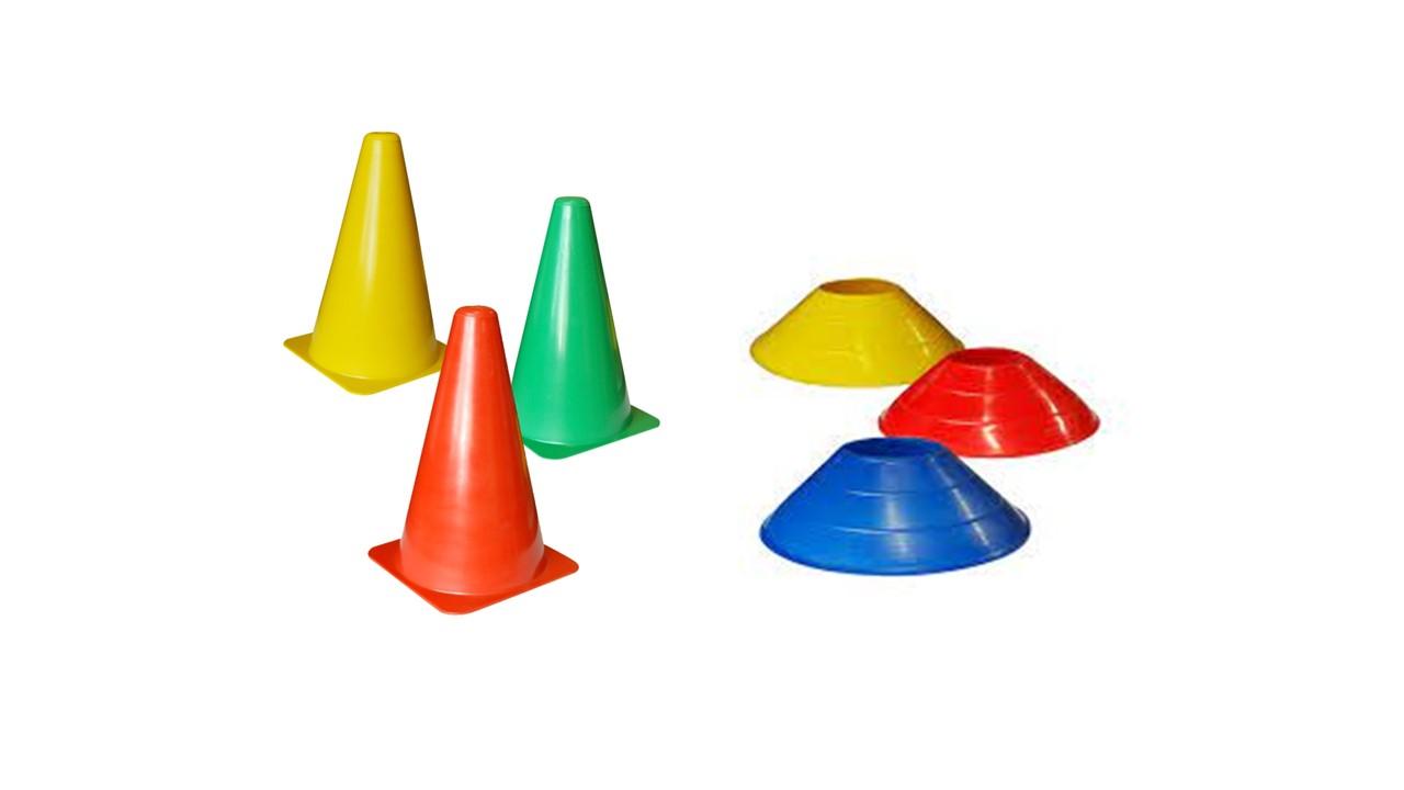 Kit 10 Cones  flexível + 10 Chapeu Chines Funcional Agilidade