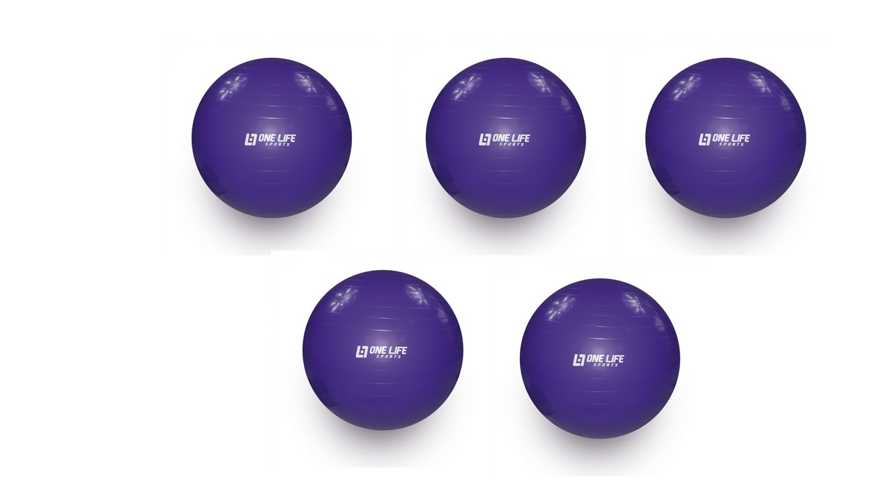 Kit 5 Bolas Para Yoga Pilates Fisioterapia Overball 25cm