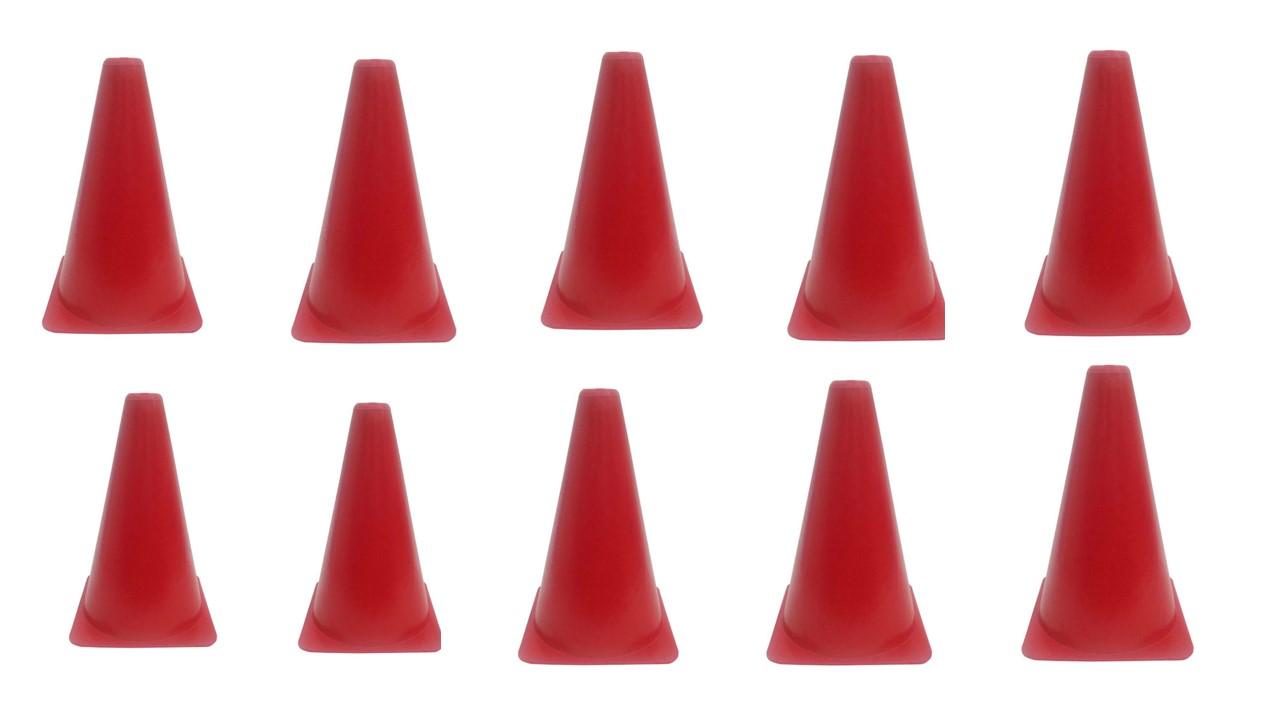 Kit C/ 10 Unidades Cone Agilidade 20cm Vermelho