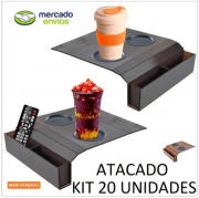 Esteira Bandeja Sofa Porta Copo + Esteira Controle Caixote Kit 20 Unidades