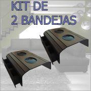 Kit 2 Bandejas Esteira Porta Copos e Porta Controles cor Tabaco DM Interiores