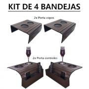 Kit 2 Suportes Porta Copos E 2 Suportes Controles Para Braço Sofá DM Interiores