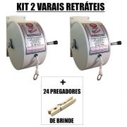 Kit 2 Varais Retrátil Stick Prátick  Recolhível 30M + 2 Dúzias De Pregadores de Madeira DM Interiores