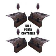 Kit 4 Bandejas para Sofá com Porta Copos e Porta Controles DM Interiores
