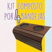 Kit 4 Esteira Suporte Porta Copo Para Braço De Sofá DM Interiores