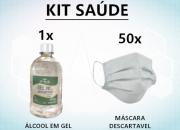 Kit 50 máscaras descartáveis + 1 Álcool em Gel 500ML