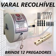 Kit Varal Retrátil Stick Prátick  Recolhível 30M + 1 Dúzia De Pregadores de Madeira DM Interiores