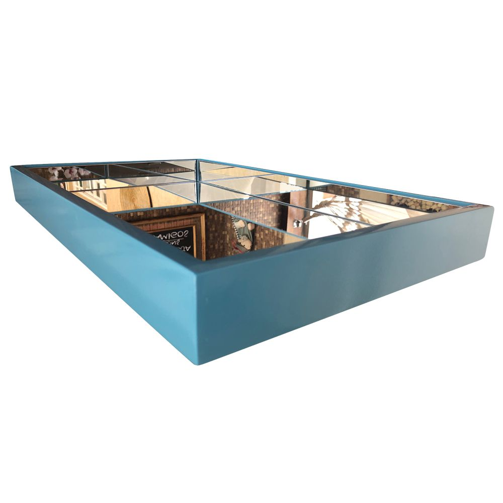 Bandeja Decorativa Espelhada  Laqueada Azul  DM Interiores