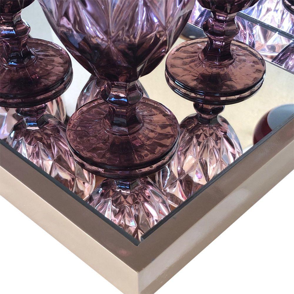 Bandeja Decorativa Espelhada  Laqueada Capuccino DM Interiores