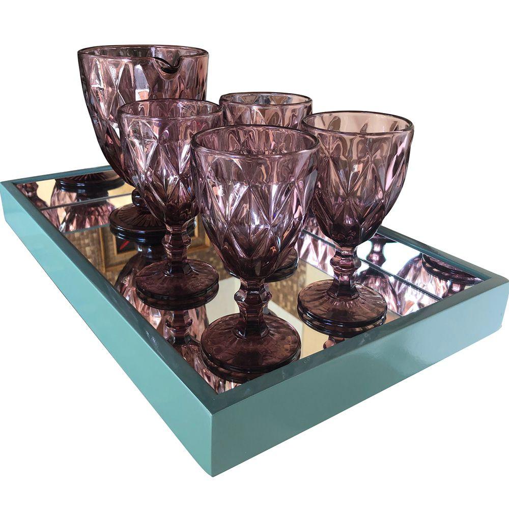 Bandeja Decorativa Espelhada  Laqueada Tiffany  DM Interiores