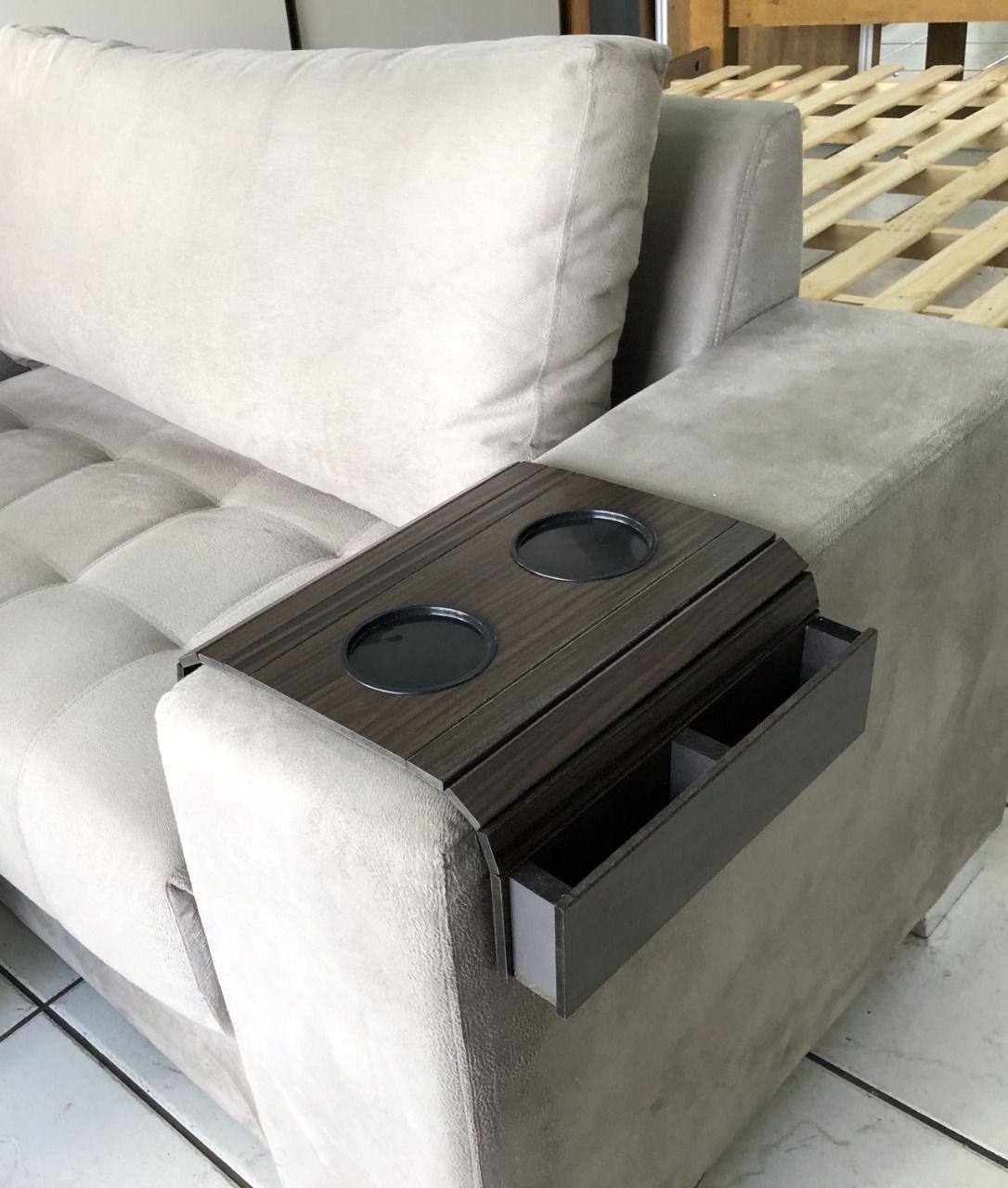 Esteira Bandeja para Sofá com Porta Copos e Porta Controles DM Interiores